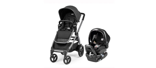 Travel system stroller next to an infant carrier car seat