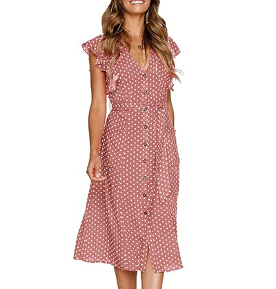 MITILLY Summer Polka Dot Sleeveless Dress