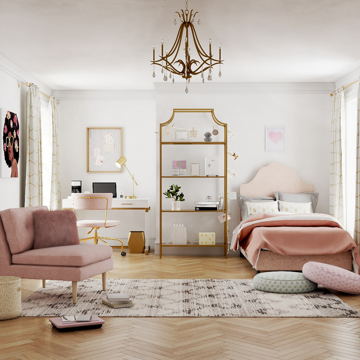 """A modern glam room is filled with pink plush furniture and gold accents, thanks to Bed Bath & Beyond's """"College from Home"""" experience."""