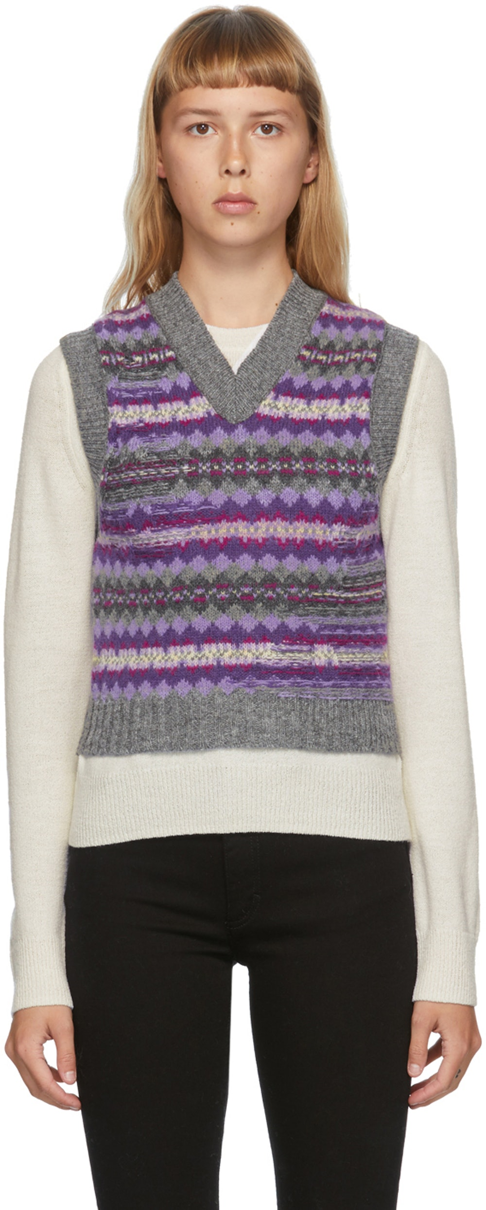 Purple & Grey Jacquard V-Neck Vest