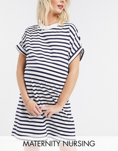 Maternity Nursing Overlay T-Shirt Mini Dress