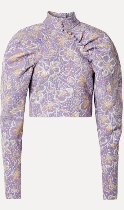 Lavender Kim Cropped Metallic Brocade Top