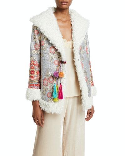 Petite Quarda Embroidered Faux-Fur Coat