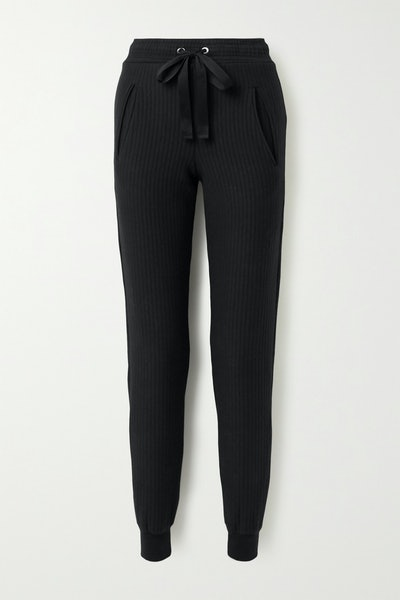 Ripple Ribbed Stretch-Cotton Tapered Track Pants
