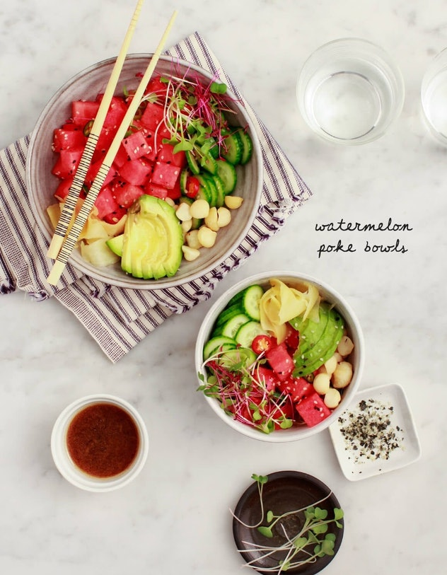 Vegan Poke Bowls are an easy recipe to use up your watermelon this summer.