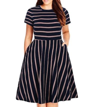 Nemidor Round Neck Plus Size Fit and Flare Midi Dress