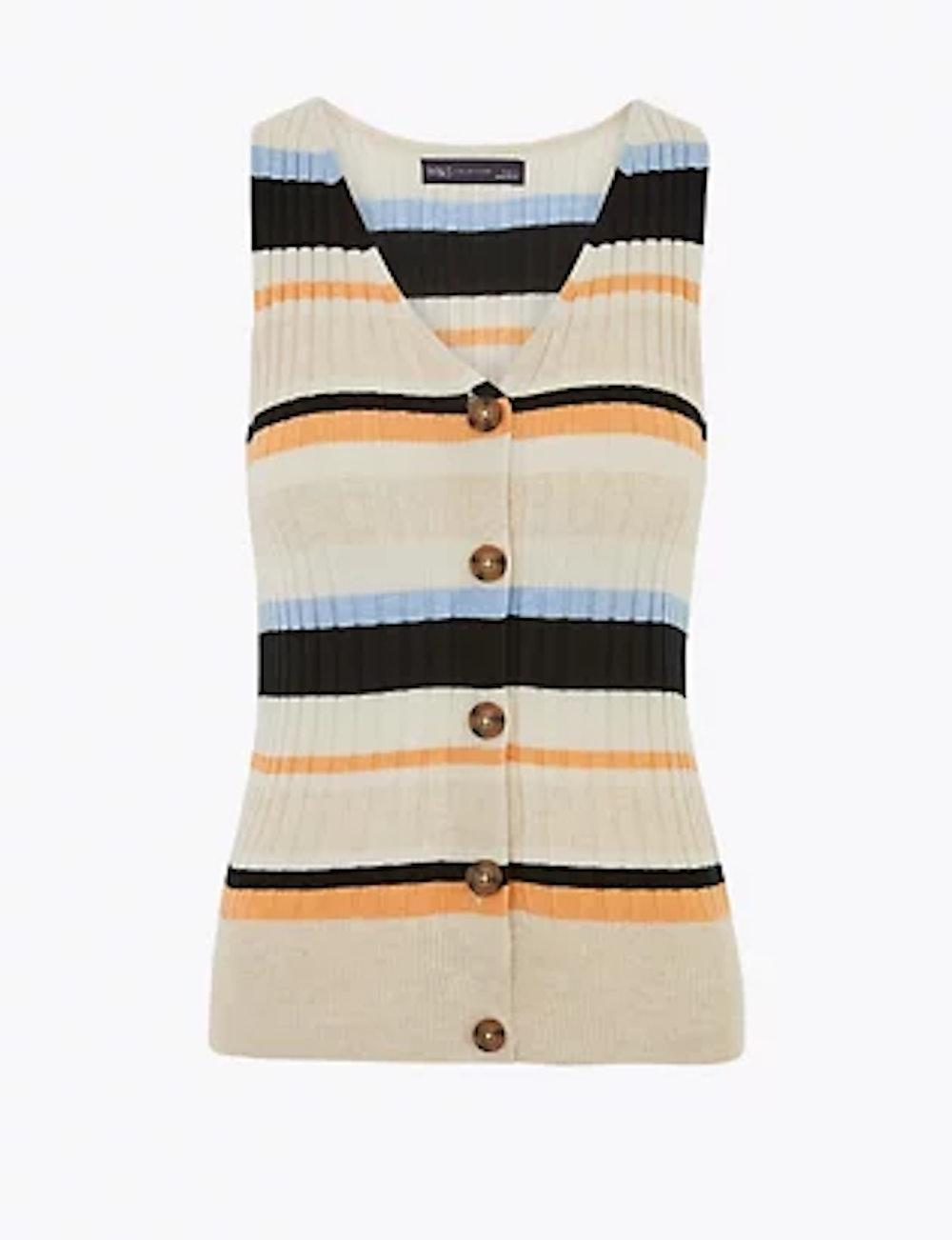 Linen Striped V-Neck Fitted Vest