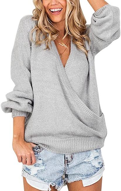 LookbookStore Deep V-Neck Surplice Sweater