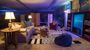 The living room constructed in the Blockbuster store.