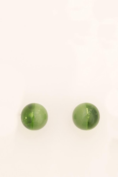 Green Glass Two Tone Studs
