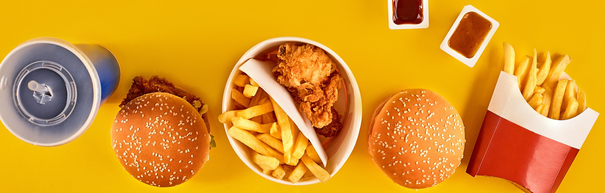 Fast food on a yellow background.