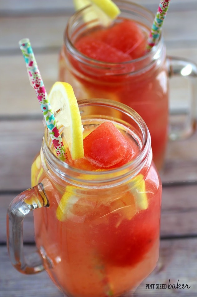 Watermelon ice cube lemonade is a simple recipe to use up your watermelon this summer.