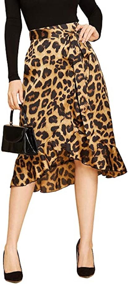 SheIn Women's Leopard Print Wrap Skirt