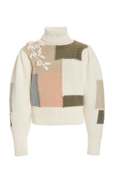 Allan Patchwork Cotton Wool-Blend Turtleneck Sweater