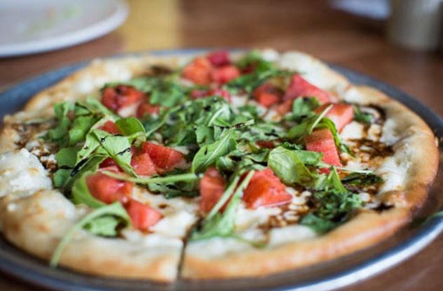 Watermelon Feta Arugula Pizza is one delicious recipe to use up your watermelon.