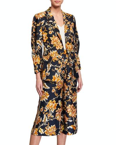 Maria Floral One-Button Silk Jacket