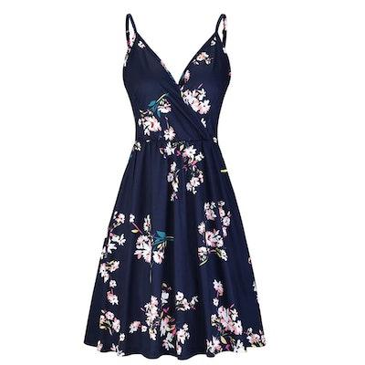 STYLEWORD Women's Floral Spaghetti Strap Dress