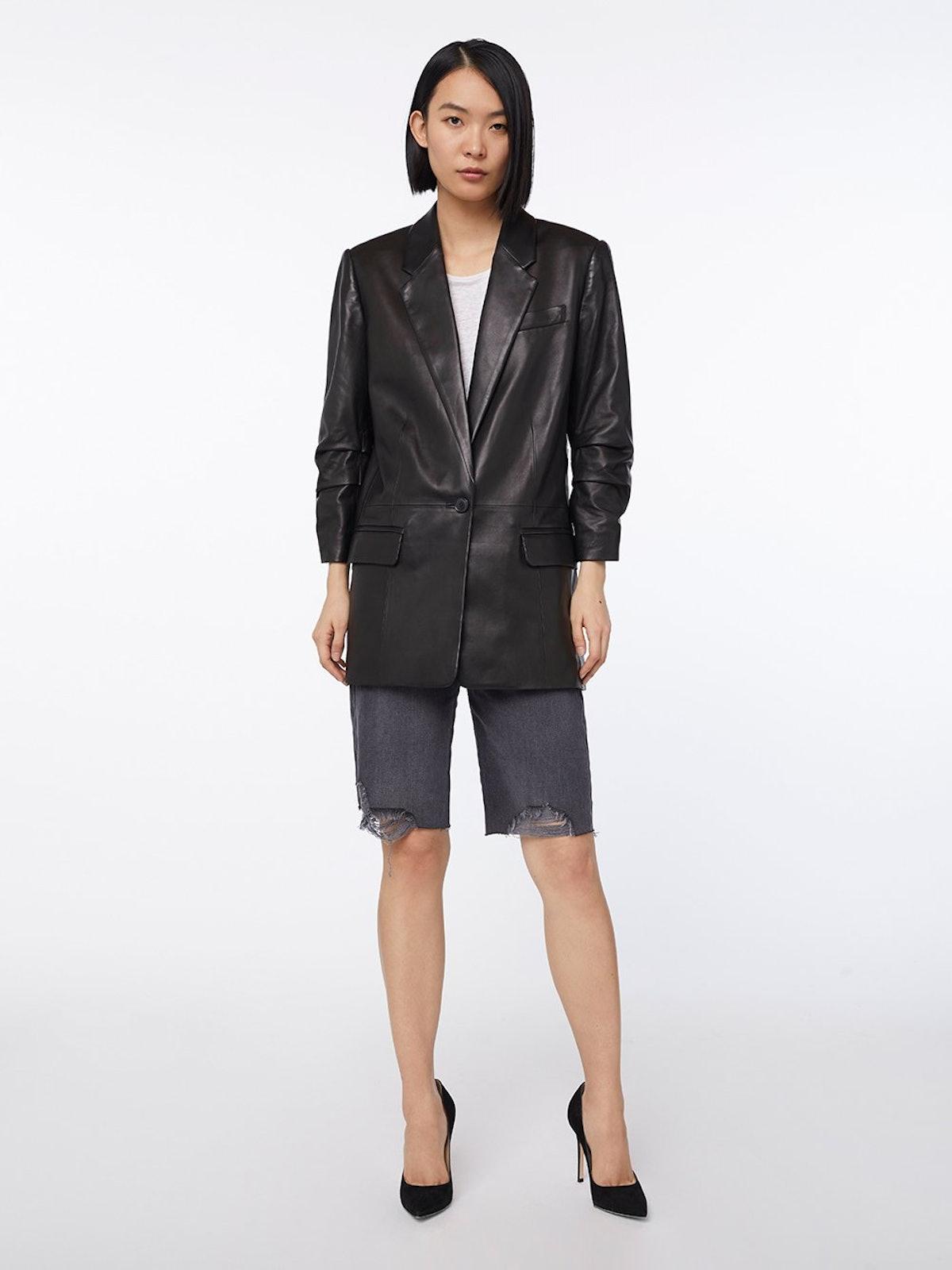 Imaan x FRAME Leather Darted Blazer