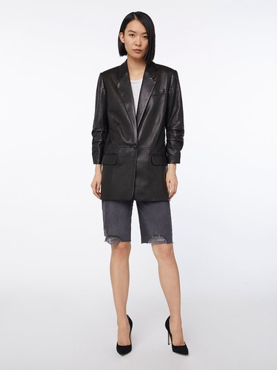 Imaan x FRAME Leather Darted Blazer