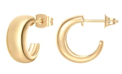 PAVOI 14K Gold Plated Sterling Silver Post Thick Huggie Earrings