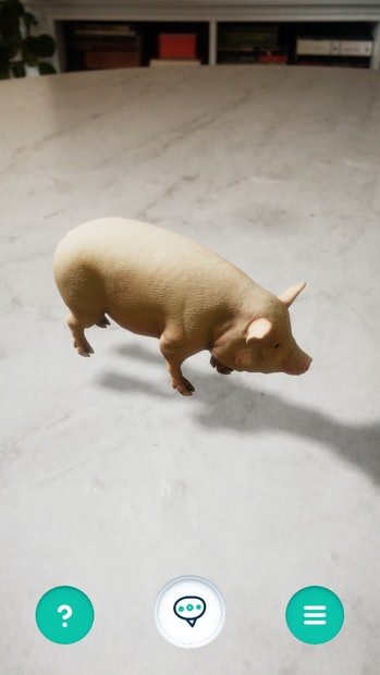 A pig in augmented reality form can be seen standing on a faux marble table. There are books in the background.