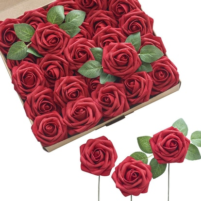 Ling's Moment Dark Red Fake Roses (55-Pack)