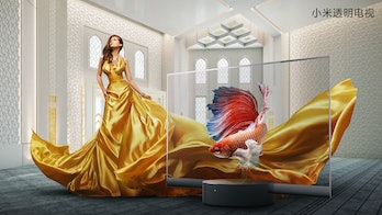 A model in a deep yellow silky dress is seen standing behind a Xiaomi see-through TV set. The background depicts grafting on a white wall and ornamental designs on the ceiling. There is a fish on the transparent screen.