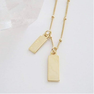 HONEYCAT Tiny Dog Tag Together Necklace