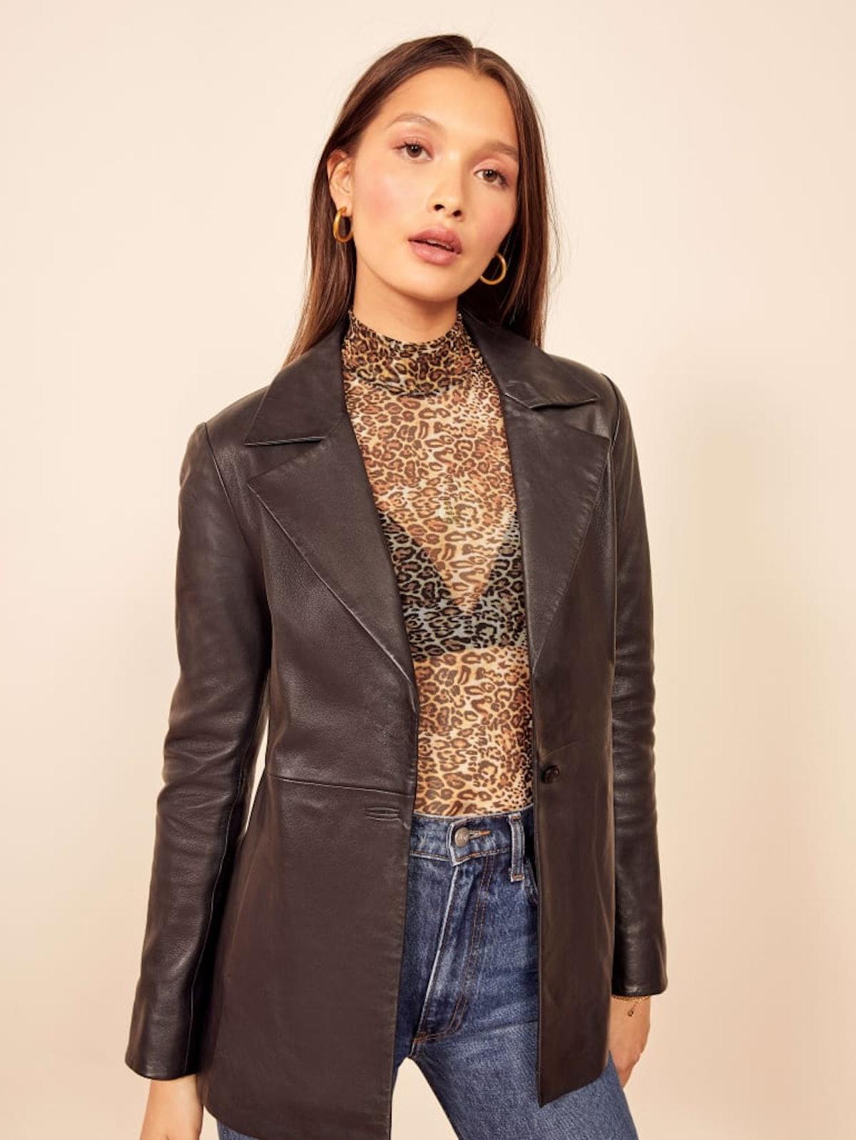 Veda Bowery Leather Blazer