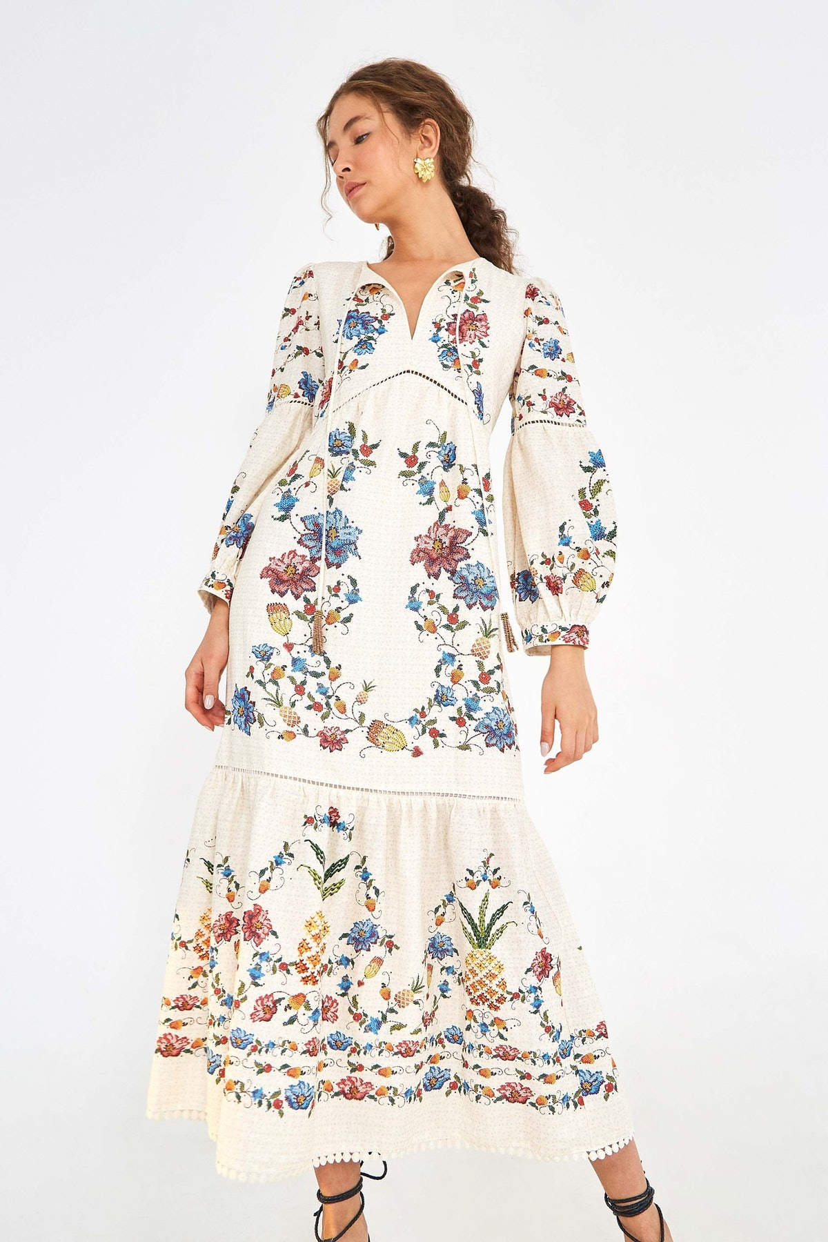 Embroidered Fruit Maxi Dress