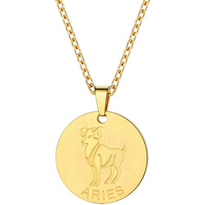 PROSTEEL Gold Aries Zodiac Star Sign Coin Necklace