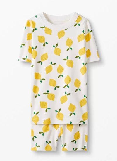 Short John Pajamas In Organic Cotton - Lemonade In White