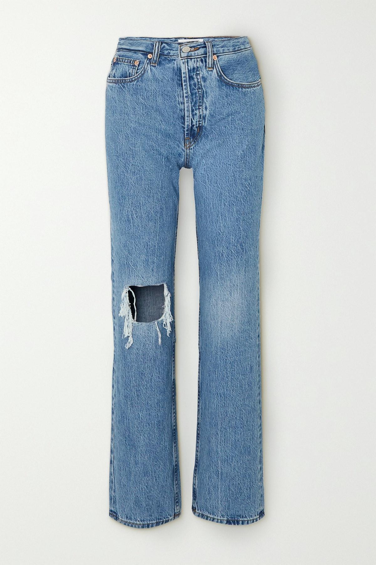 Childhood Distressed High-Rise Straight-Leg Jeans