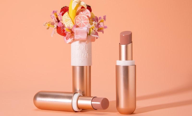 Campaign imagery of Sol De Janeiro's Brazilian Kiss Tinted Cupuacu Lip Butter.