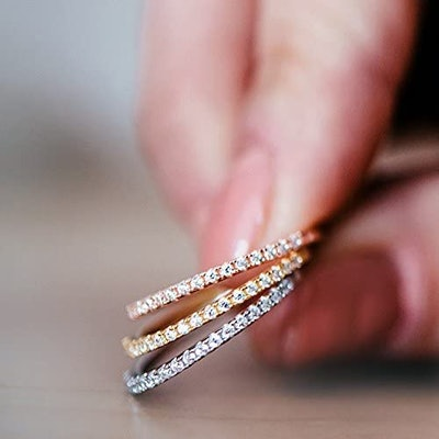 PAVOI Gold Plated Sterling Silver Stackable Ring