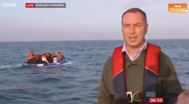 BBC Breakfast films migrants crossing the English Channel.
