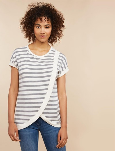 Striped Lift Up Drape Front Nursing Top