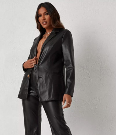 dani michelle x missguided black faux leather tailored blazer