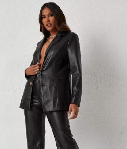 dani michelle x missguided black faux leather tailored blazer