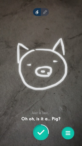 "A doodle of a pig's face can be seen on a faux marble table. The caption below reads: ""Oh oh, is it a... pig?"""