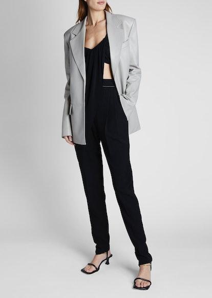 Leather Long-Sleeve Blazer Jacket