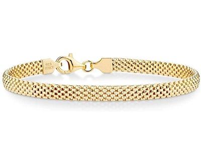Miabella 18K Gold Over Sterling Silver Italian 5mm Mesh Link Chain Bracelet