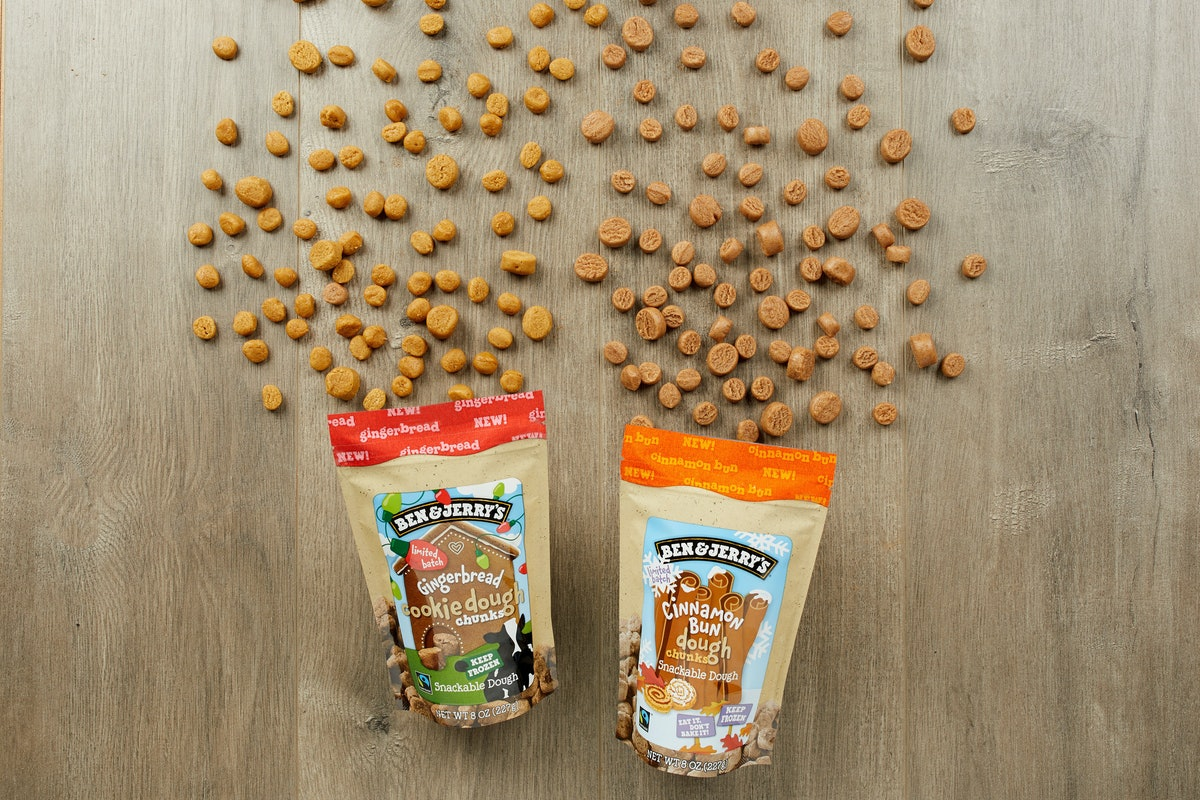 Ben & Jerry's new Gingerbread and Cinnamon Bun edible cookie dough flavors are coming to stores soon.