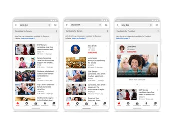 YouTube information panels surface information about political candidates in search results.