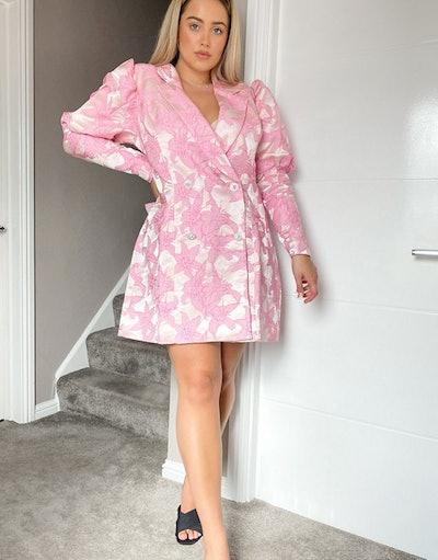 Curve Luxe Jacquard Tux Dress