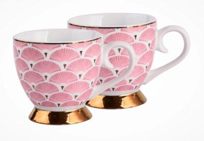 Pink Art Deco Fan Footed Mugs Set of 2