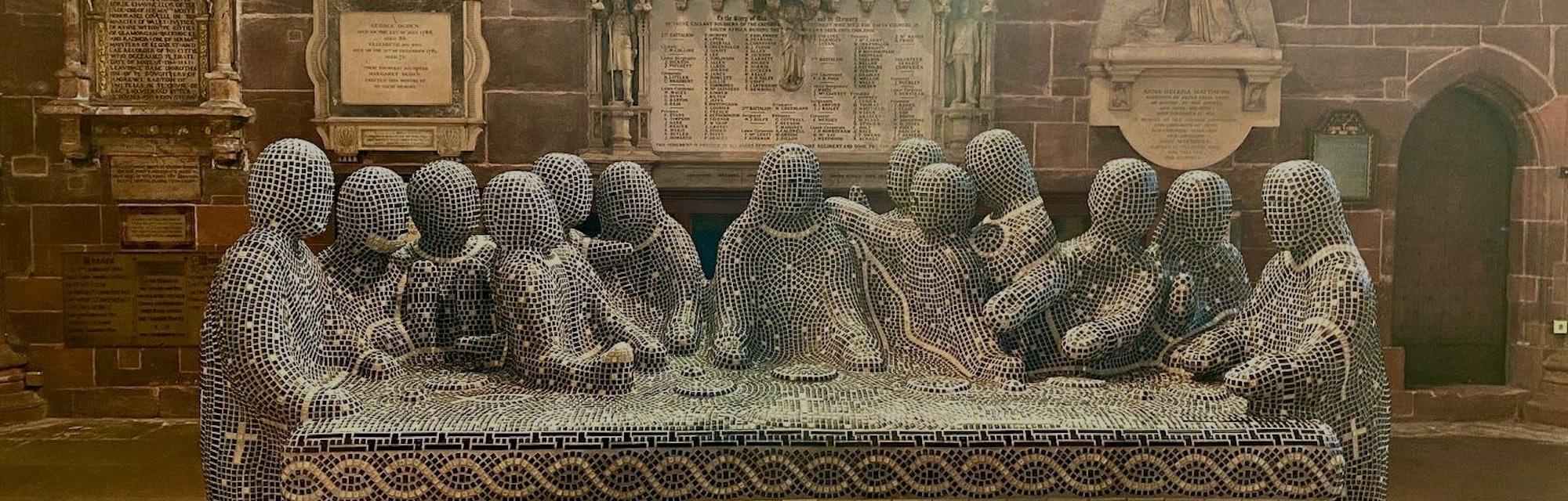 Last Supper keyboard mosaic sculpture