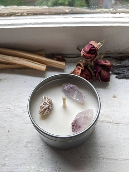 Peace Love and Happiness Crystal Candle