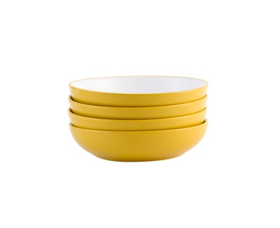 Yellow Two Tone Pasta Bowls Set of 4