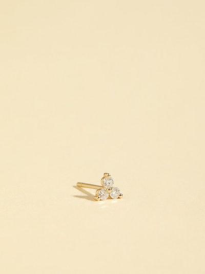 Tri-Stone Diamond Stud Earring